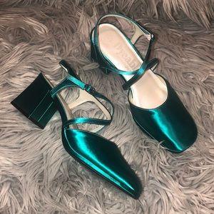 Vtg 90s satin teal block heels 7 7.5 strappy